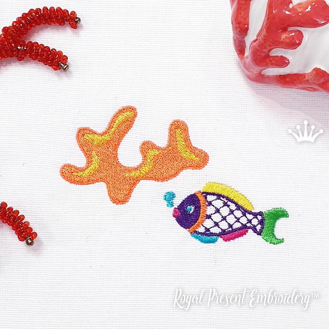 Рыбка и коралл в мексиканском стиле Дизайны машинной вышивки