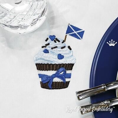 Кекс с флагом Шотландии дизайн машинной вышивки