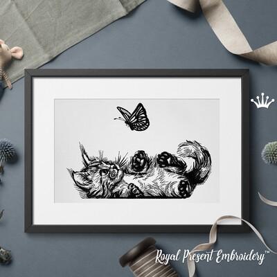 Котенок с бабочкой Дизайн машинной вышивки - 6 размеров