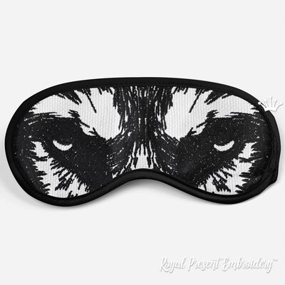 Маска для сна Глаза Волка Дизайн машинной вышивки - 3 размера