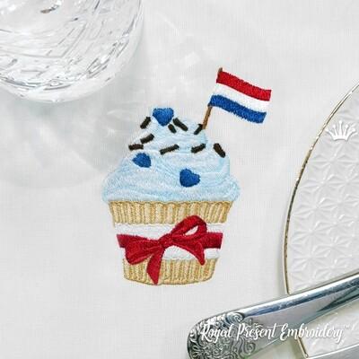 Кекс Флаг Нидерландов дизайн машинной вышивки