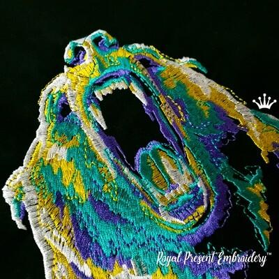 Разноцветный Рычащий Медведь Дизайн машинной вышивки - 5 размеров