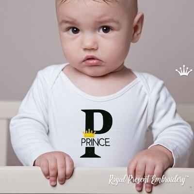 Надпись Принц с короной Дизайн машинной вышивки