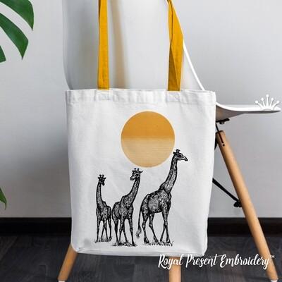 Три Жирафа в саванне Дизайны машинной вышивки