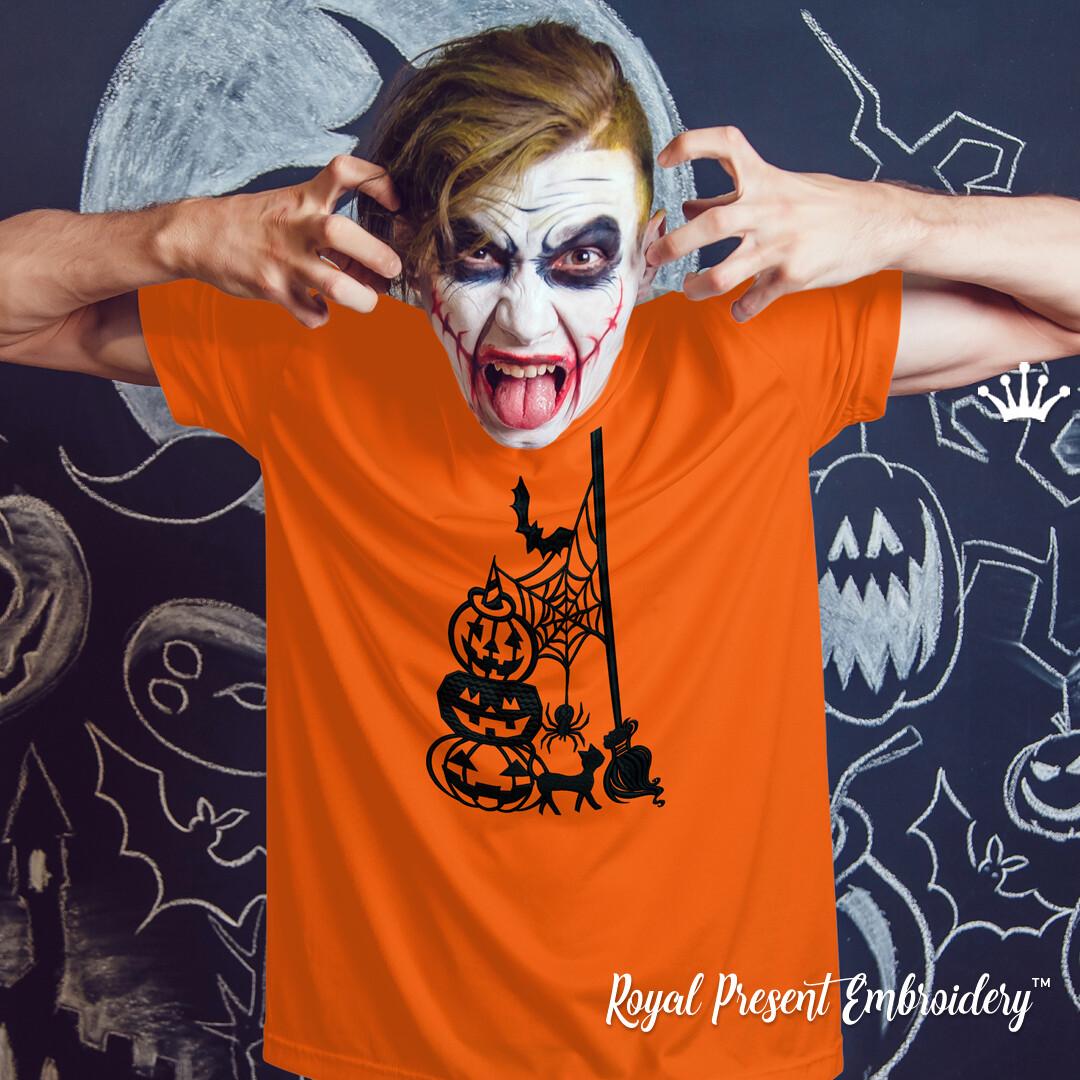 Силуэтный Дизайн машинной вышивки Нечисть Хэллоуина - 7 размеров