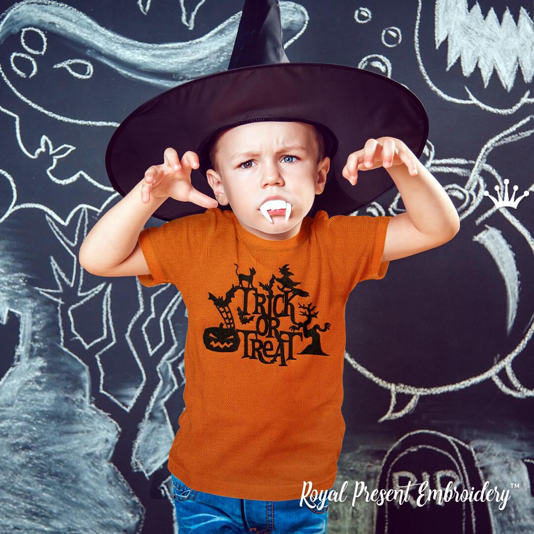 Силуэтный Дизайн машинной вышивки на Хэллоуин