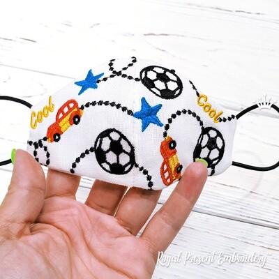 Защитная Маска для лица для Мальчиков бесплатный дизайн машинной вышивки - 3 размера