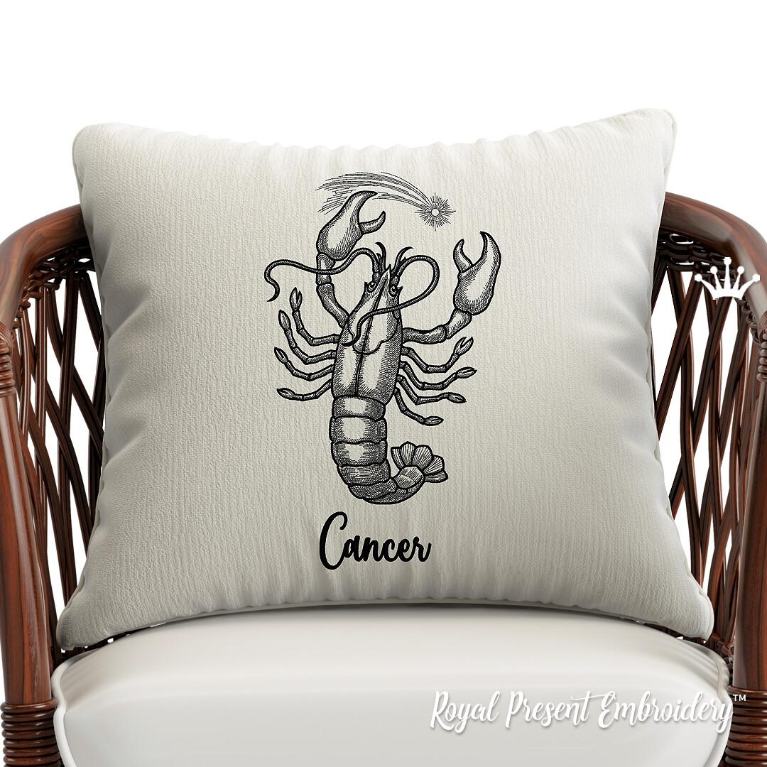 Знак Зодиака Рак Дизайн машинной вышивки - 3 размера