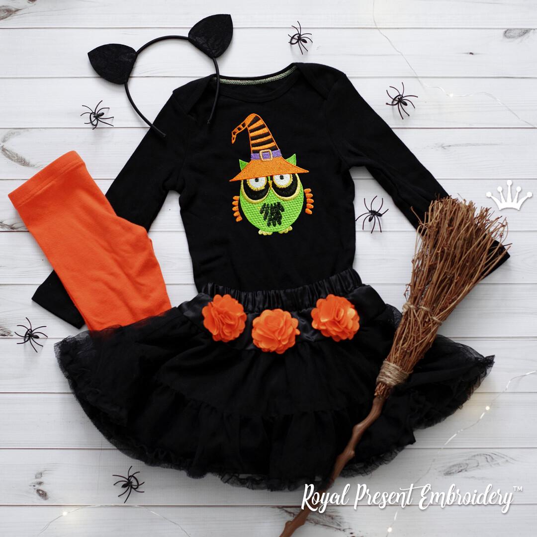 Дизайн машинной вышивки Сова Хэллоуин - 3 размера