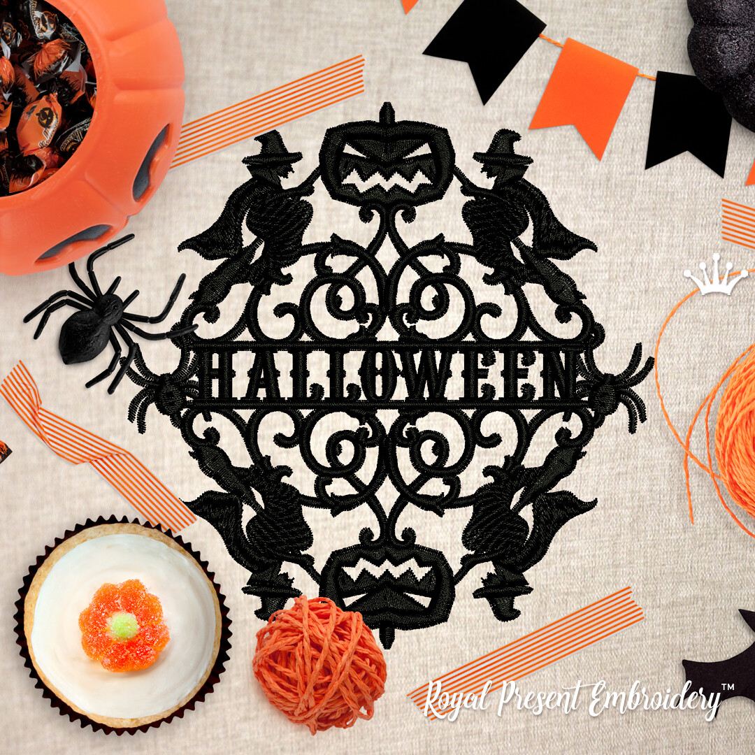 Силуэтный Дизайн машинной вышивки на Хэллоуин с ведьмами - 5 размеров