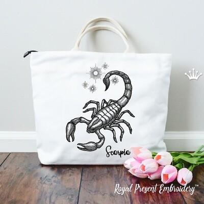 Графический Скорпион Дизайн машинной вышивки - 4 размера