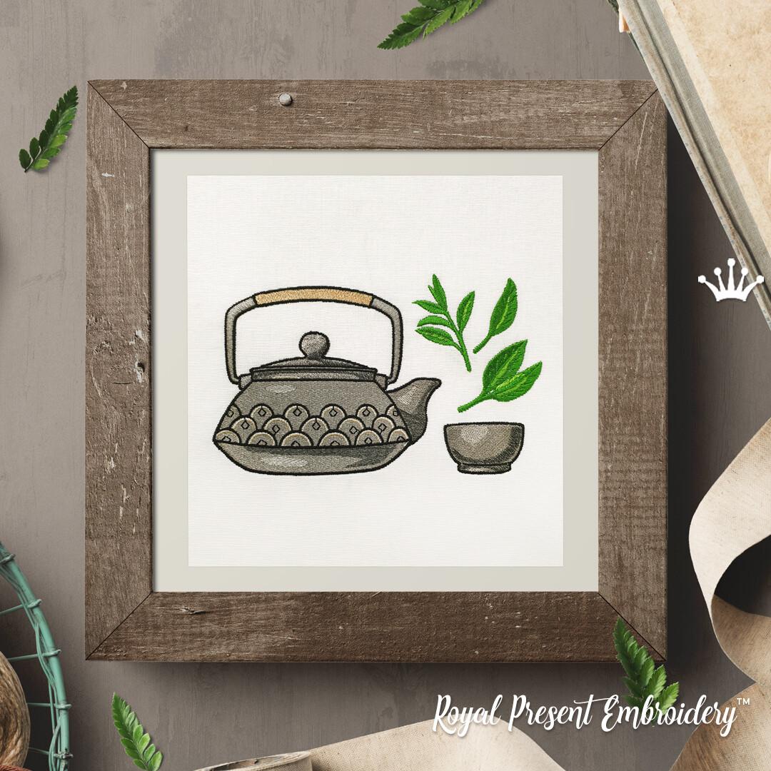 Азиатский чайник с чашкой Дизайн машинной вышивки