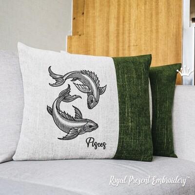 Знак Зодиака Рыбы Дизайн машинной вышивки - 6 размеров