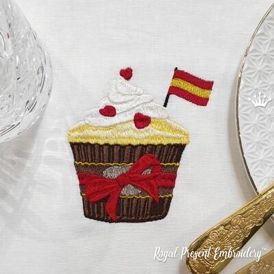 Кекс с флагом Испании дизайн машинной вышивки