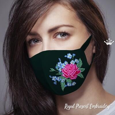 Розы и незабудки Защитная Маска для Лица Дизайн Машинной Вышивки
