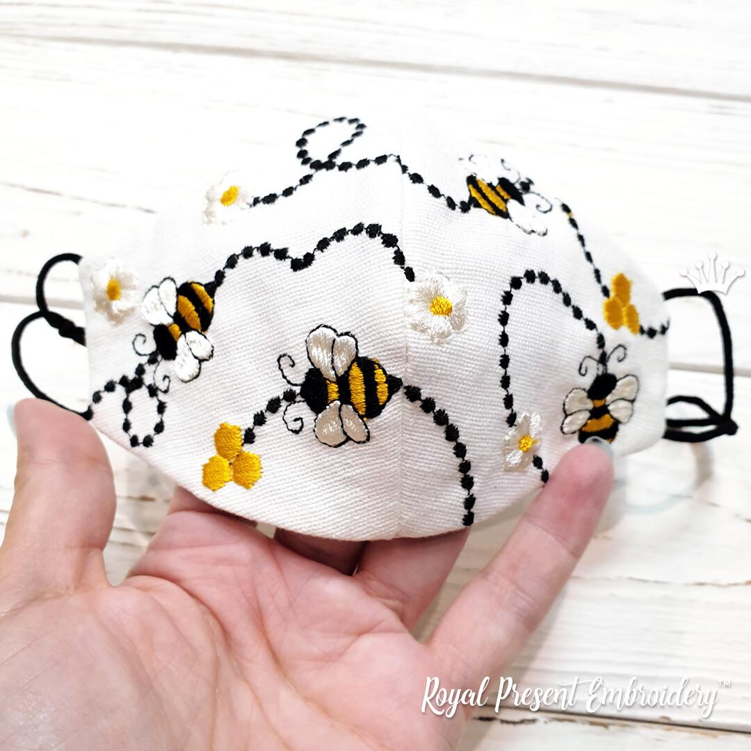 Защитная Маска для лица Пчелки дизайн машинной вышивки - 4 размера