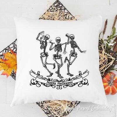 Веселые Скелеты Хэллоуин Дизайн машинной вышивки - 4 размера