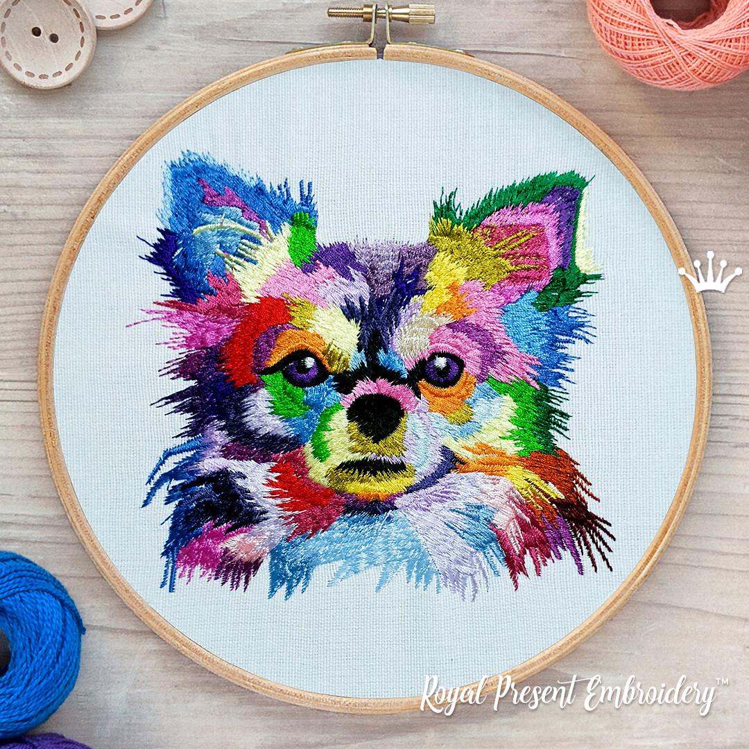 Красочная собака чихуахуа Дизайн машинной вышивки - 5 размеров