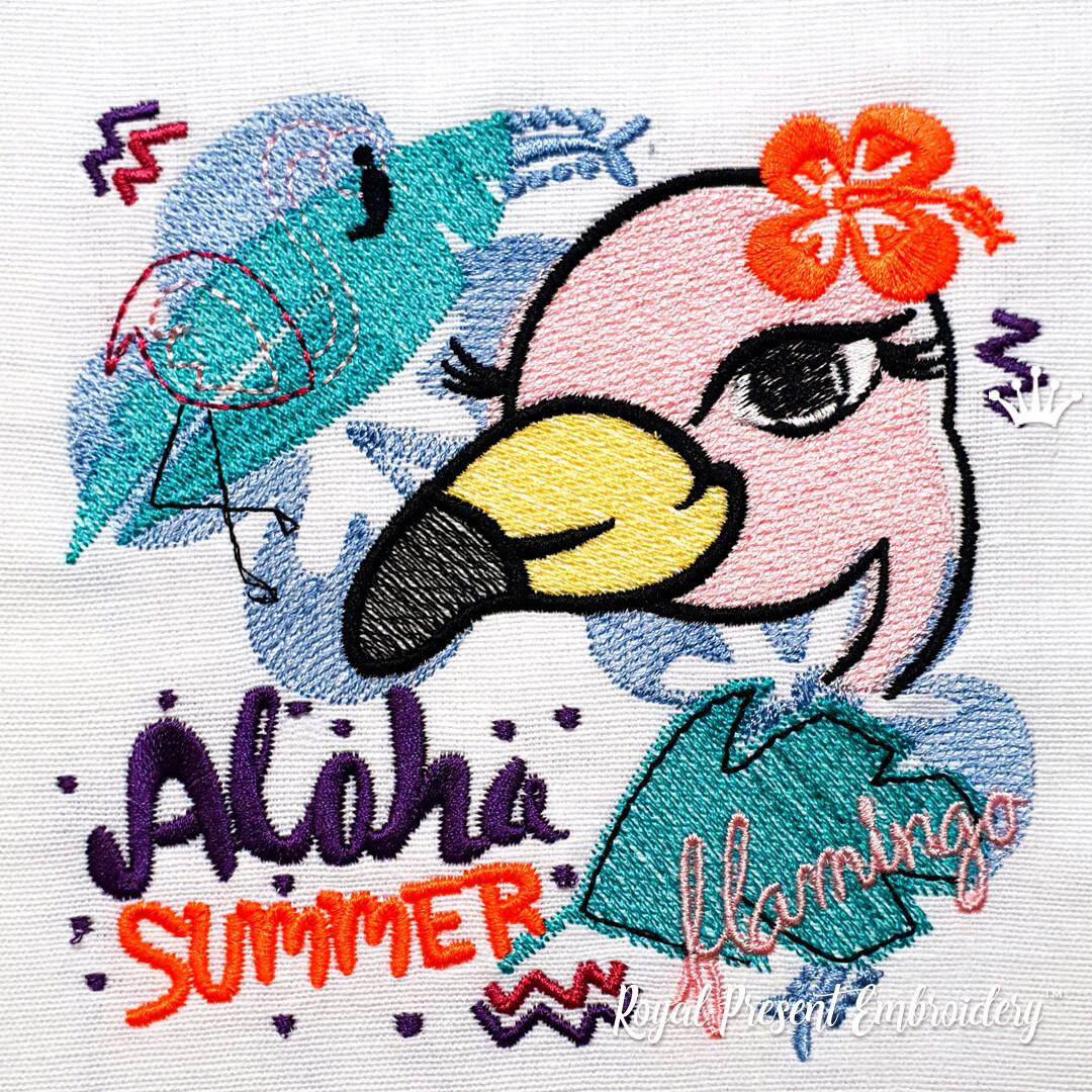 Гавайcкая Фламинго дизайн машинной вышивки