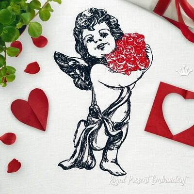 Дизайн машинной вышивки Ангел с розами - 4 размера