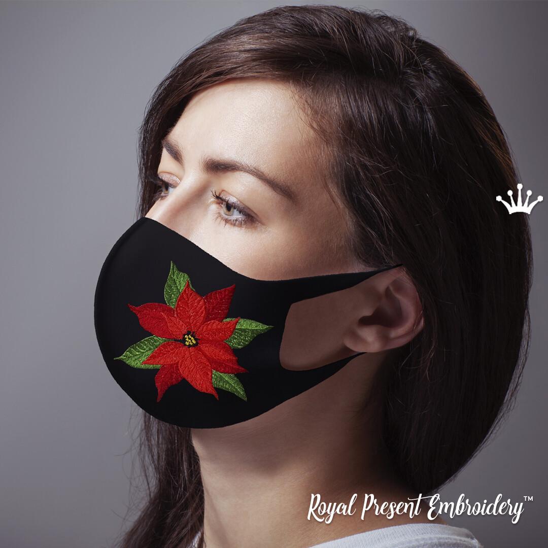 Новогодняя Маска для Лица Пуансетия Дизайн Машинной Вышивки