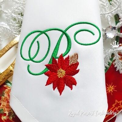 Заглавная Буква P с пуансетией Дизайн машинной вышивки