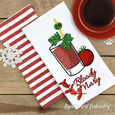 Коктейль Кровавая Мэри Дизайн машинной вышивки - 2 размера