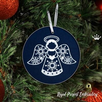 Новогодний Ангел с сердечком Дизайн Машинной Вышивки - 3 размера