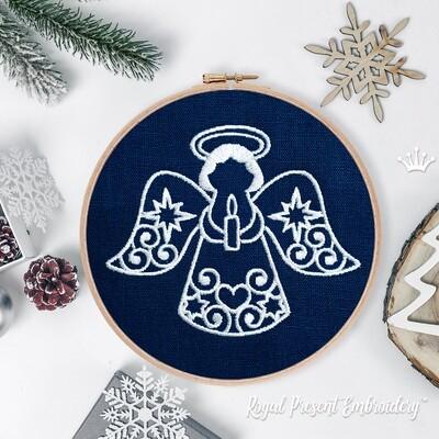 Новогодний Ангел со свечой Дизайн Машинной Вышивки - 3 размера