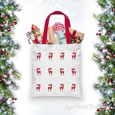 Маленький Рождественский Олень Дизайн машинной вышивки - 4 размера
