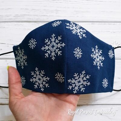 Зимняя Маска для Лица со снежинками Дизайн Машинной Вышивки
