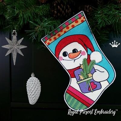 Большой Сапожок Снеговик Дизайн машинной вышивки - 5 размеров
