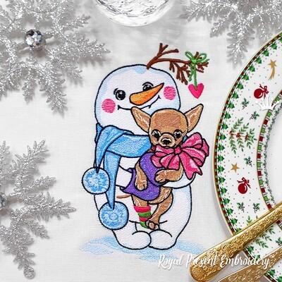 Снеговик с собачкой Дизайн машинной вышивки - 4 размера