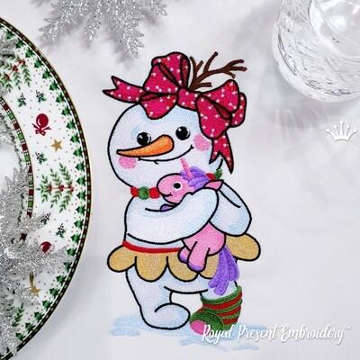 Снеговик с Единорогом Дизайн машинной вышивки - 4 размера