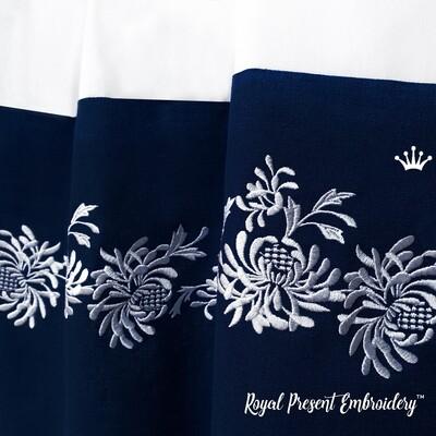 Хризантемы бесконечный бордюр Дизайн машинной вышивки