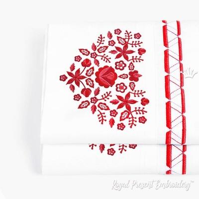 Дизайн машинной вышивки Польский фольклорный узор сердце - 3 размера