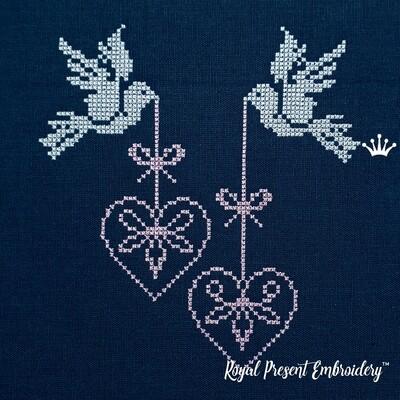 Голуби с Сердечками Дизайны машинной вышивки крестом - 2 размера