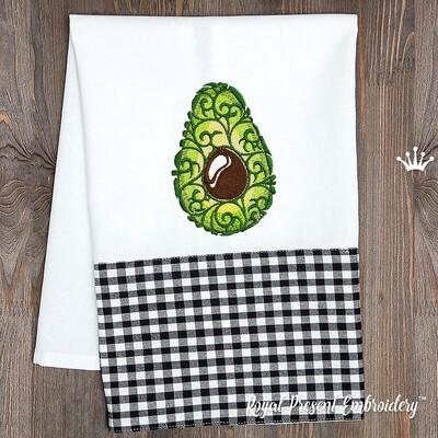 Авокадо Орнаментальный Дизайн машинной вышивки - 2 размера