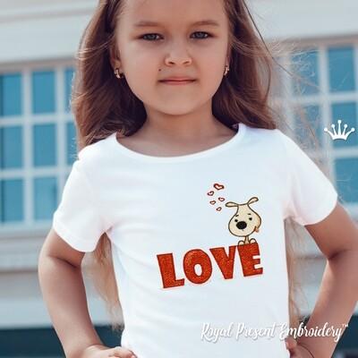 Щенок с сердечками Дизайн машинной вышивки