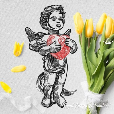 Ангел с сердцем Дизайн машинной вышивки - 7 размеров