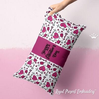 День Валентина орнамент Дизайны машинной вышивки