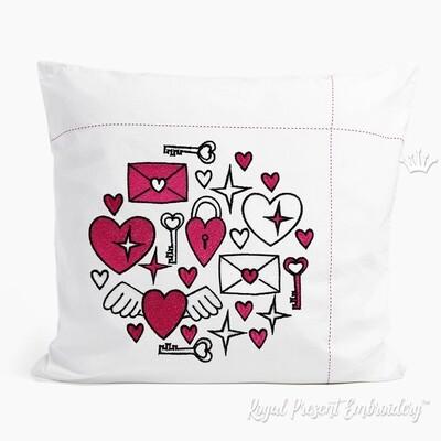 День Валентина круглый орнамент Дизайн машинной вышивки