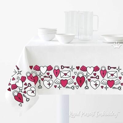 День Валентина орнаменты для бордюра Дизайны машинной вышивки