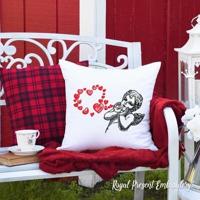 Ангел с сердечками Дизайн машинной вышивки - 5 размеров