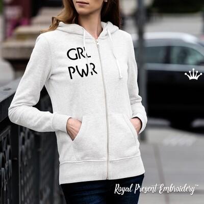 Надпись Girl Power дизайн машинной вышивки - 3 размера