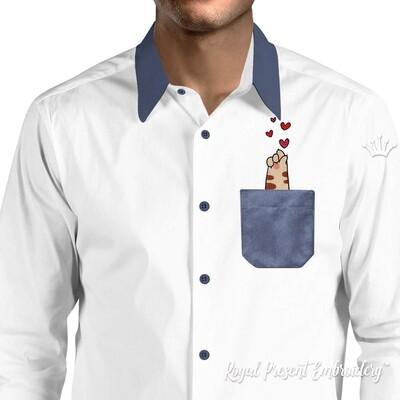 Лапка Котенка с сердечками Дизайн машинной вышивки - 3 размера