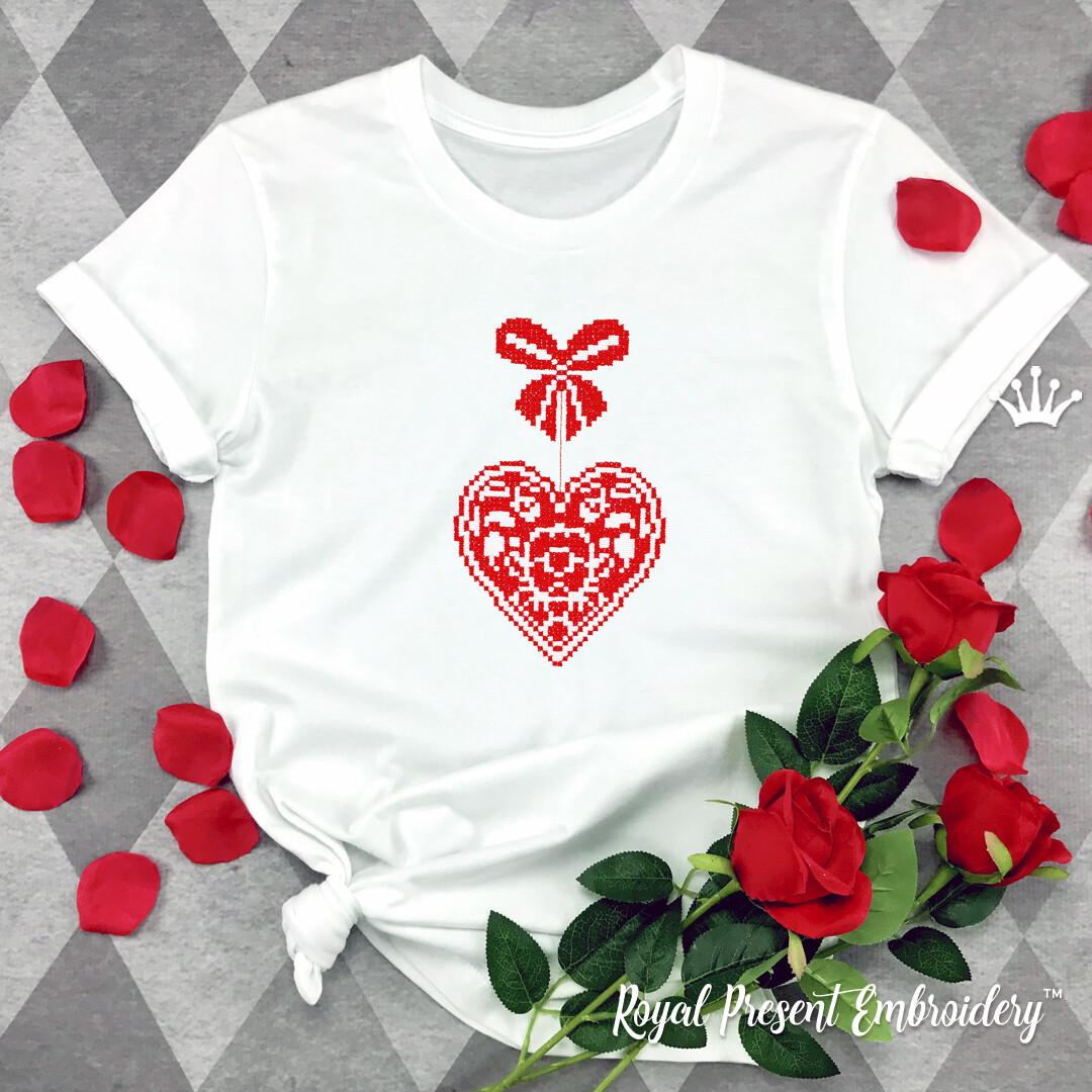 Сердце с бантиком Дизайн для машинной вышивки крестом