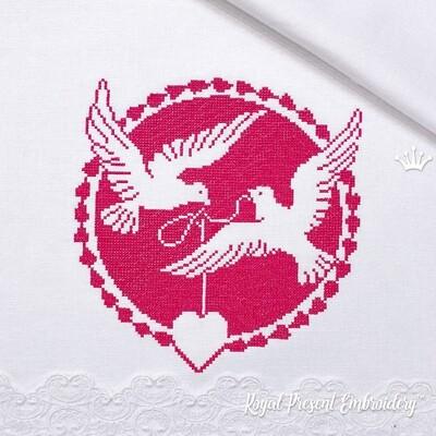 Два Голубя с сердечком бесплатный Дизайн для машинной вышивки крестом