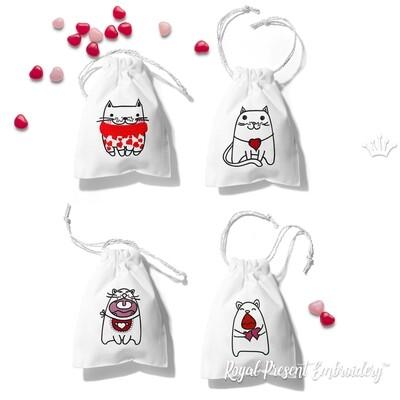 Коты Валентинки Дизайны машинной вышивки - 4 в 1
