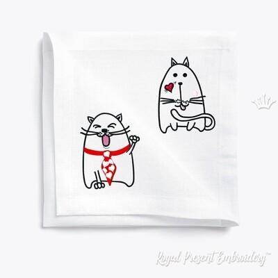 Два Кота Валентинки Дизайны машинной вышивки - 2 в 1
